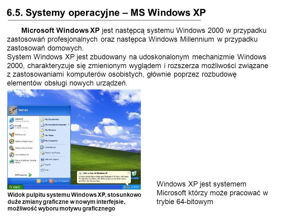 6.5. Systemy operacyjne – MS Windows XP