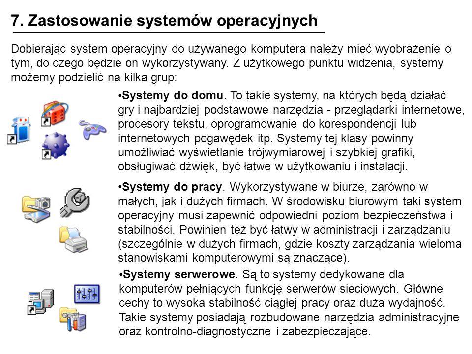 7. Zastosowanie systemów operacyjnych