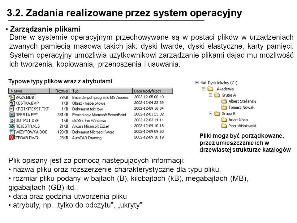 3.2. Zadania realizowane przez system operacyjny