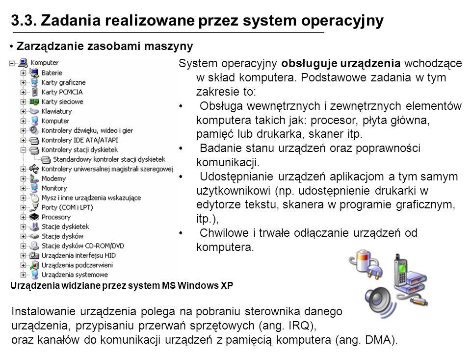 3.3. Zadania realizowane przez system operacyjny