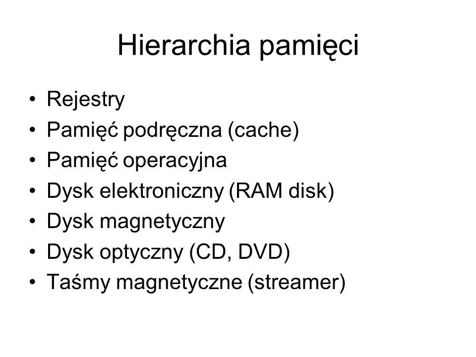Hierarchia pamięci Rejestry Pamięć podręczna (cache) Pamięć operacyjna
