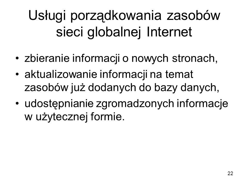 Usługi porządkowania zasobów sieci globalnej Internet