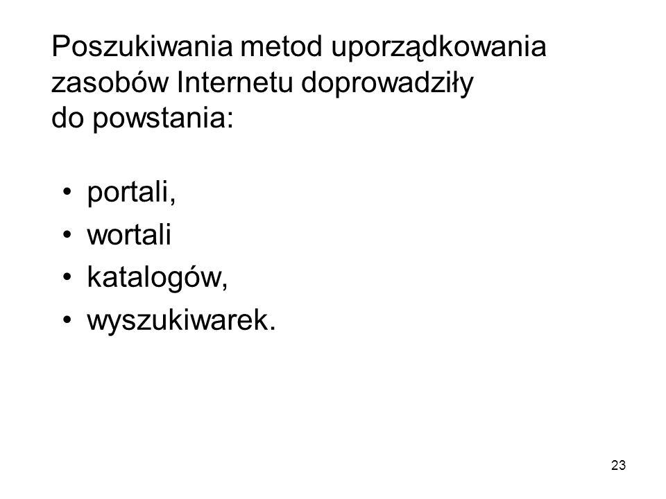 Poszukiwania metod uporządkowania zasobów Internetu doprowadziły do powstania: