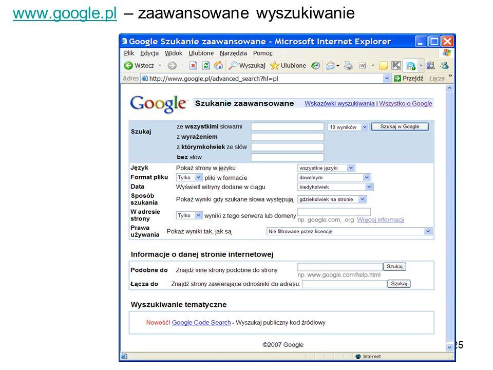 www.google.pl – zaawansowane wyszukiwanie