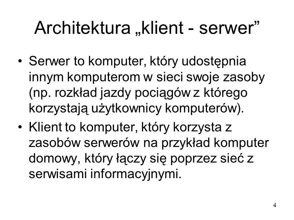 """Architektura """"klient - serwer"""