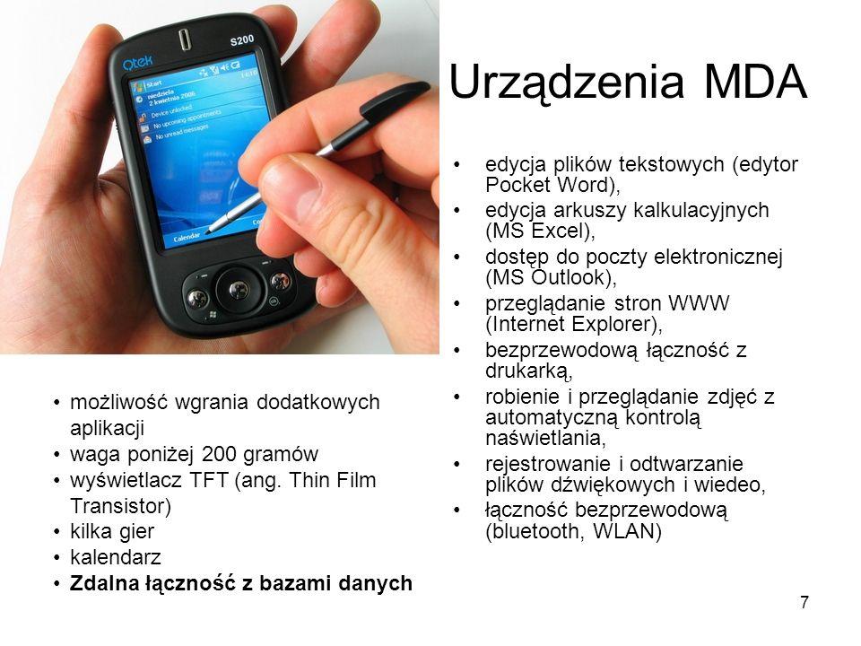 Urządzenia MDA edycja plików tekstowych (edytor Pocket Word),