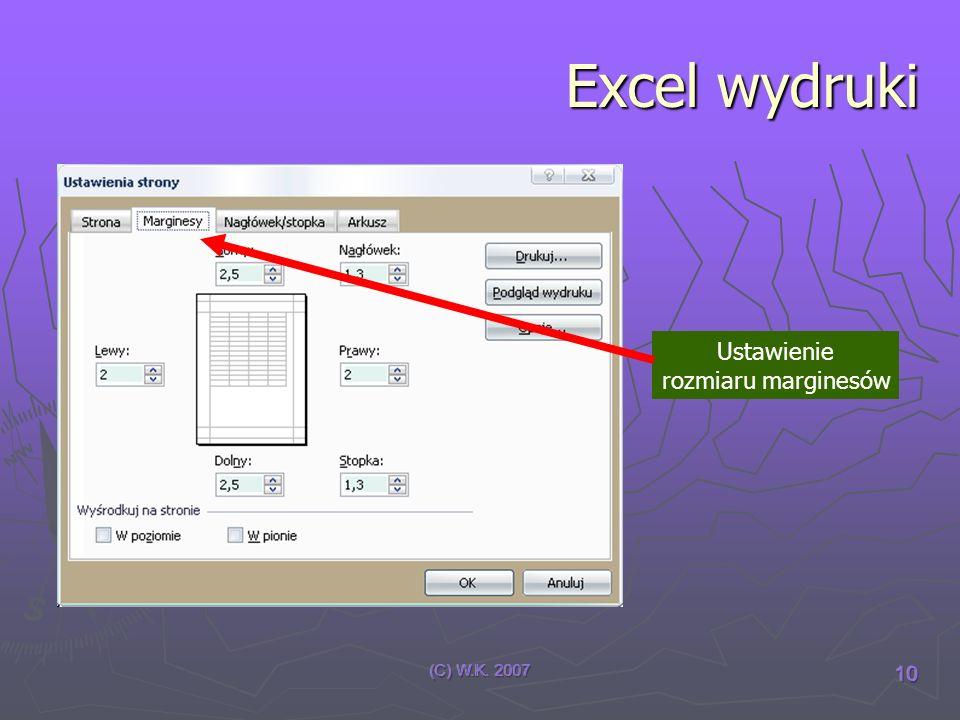 Excel wydruki Ustawienie rozmiaru marginesów (C) W.K. 2007