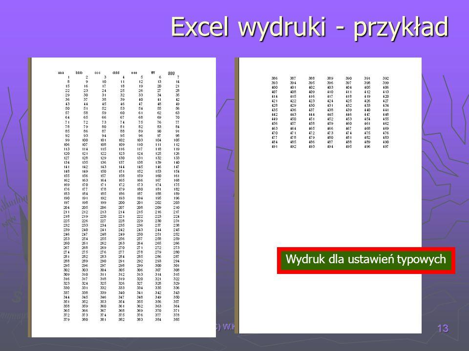 Excel wydruki - przykład