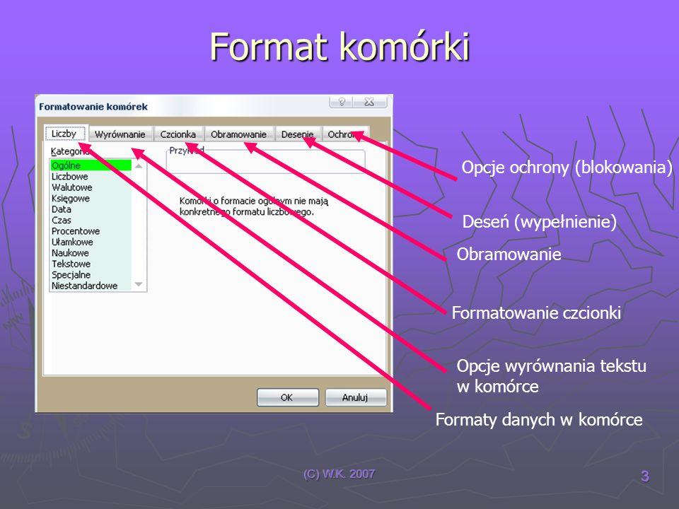 Format komórki Opcje ochrony (blokowania) Deseń (wypełnienie)