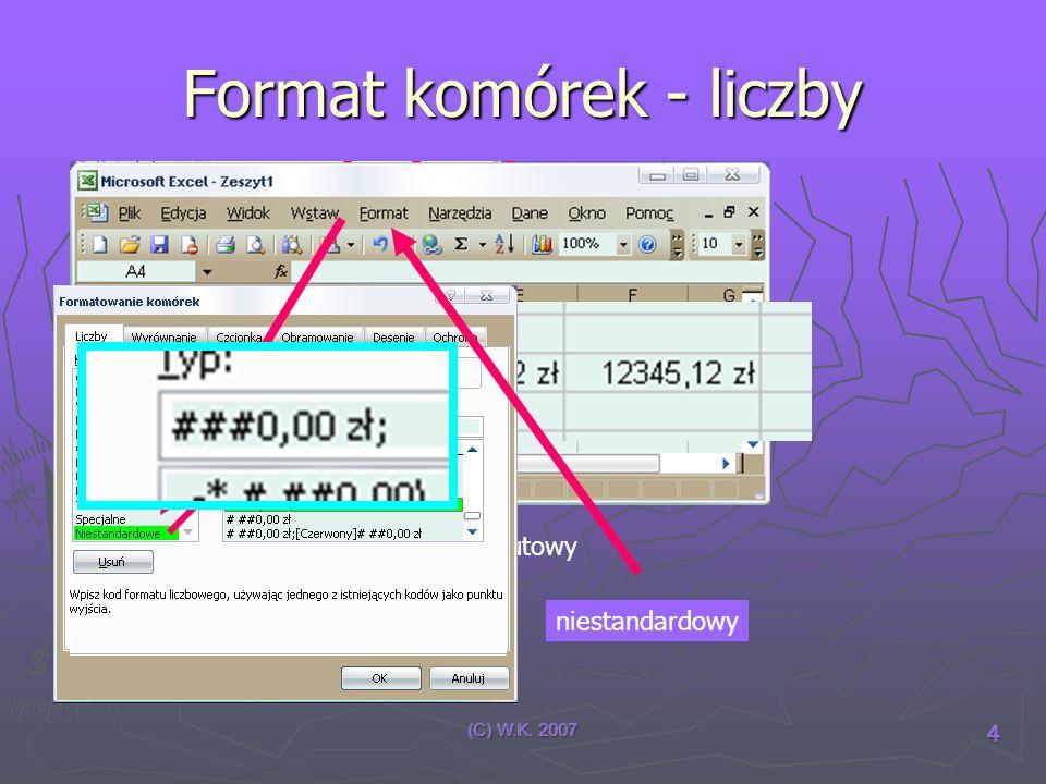 Format komórek - liczby