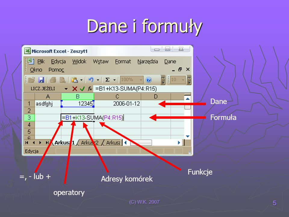 Dane i formuły Dane Formuła Funkcje =, - lub + Adresy komórek
