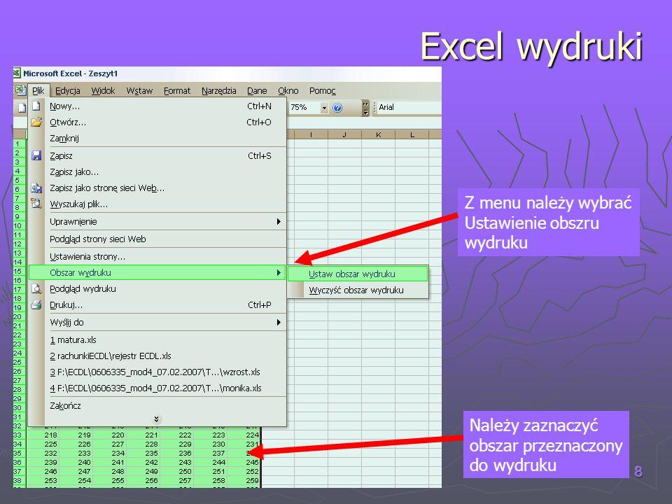 Excel wydruki Z menu należy wybrać Ustawienie obszru wydruku