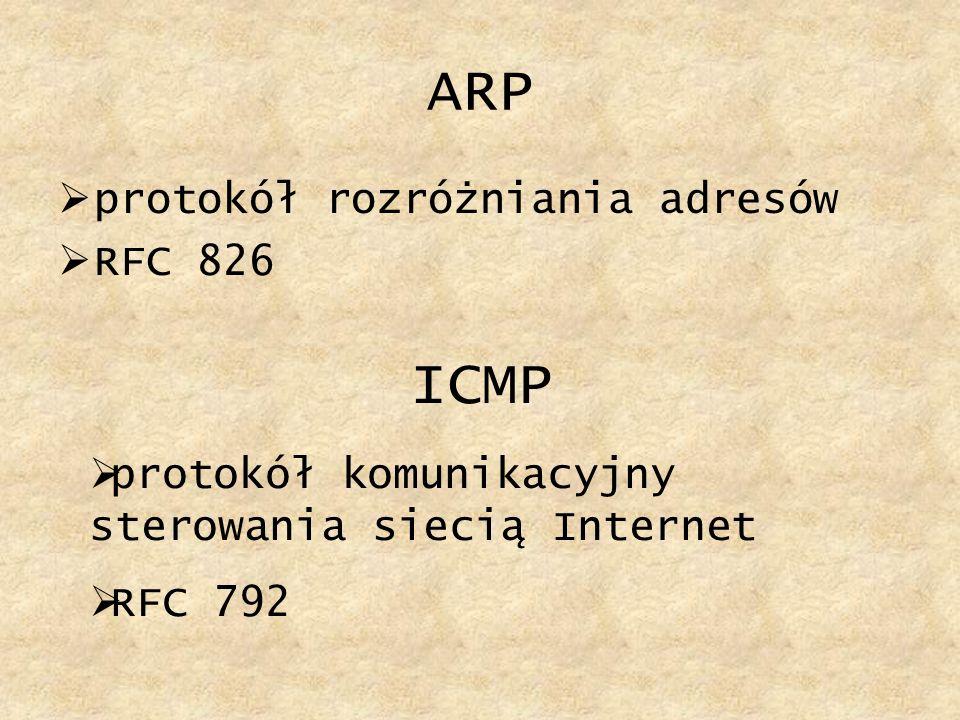 ARP ICMP protokół rozróżniania adresów RFC 826