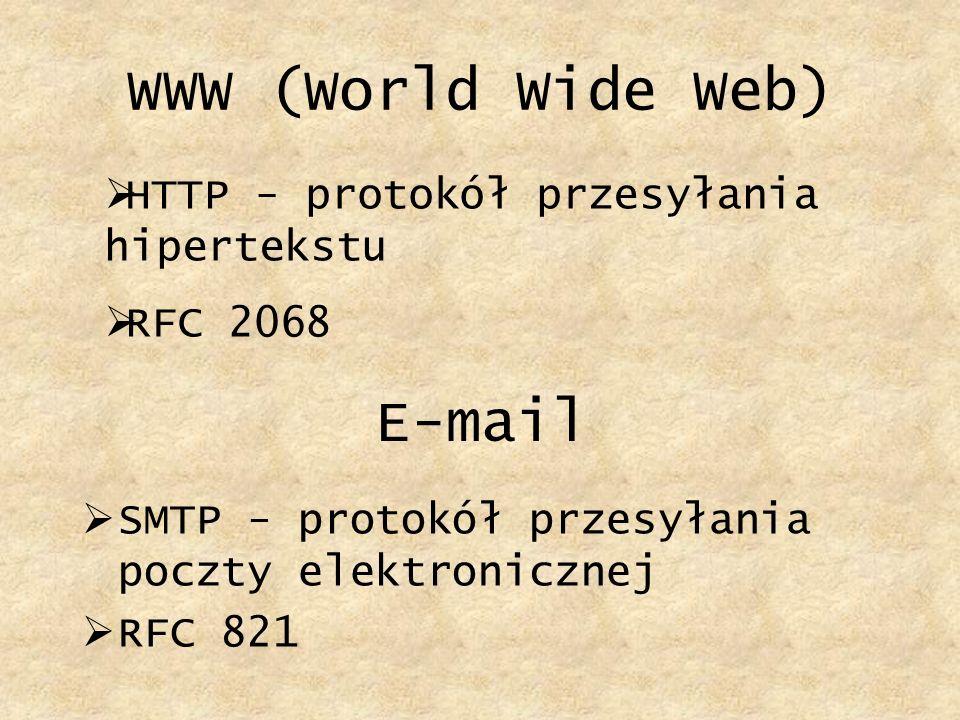 WWW (World Wide Web) E-mail HTTP - protokół przesyłania hipertekstu