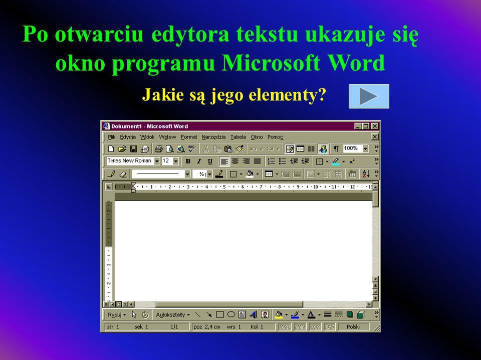 Po otwarciu edytora tekstu ukazuje się okno programu Microsoft Word
