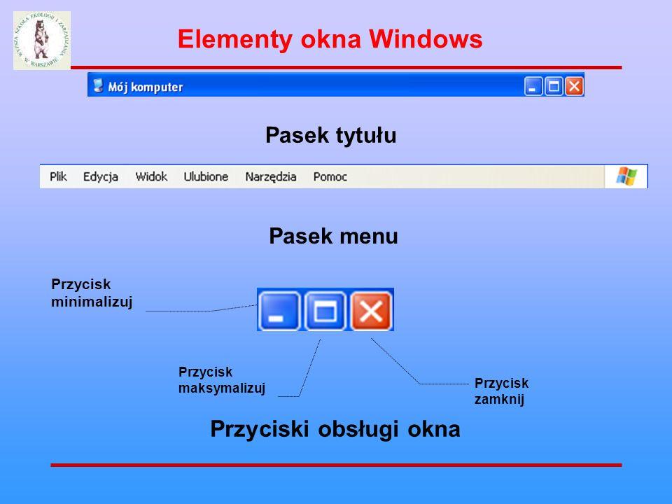 Elementy okna Windows Przyciski obsługi okna Pasek tytułu Pasek menu