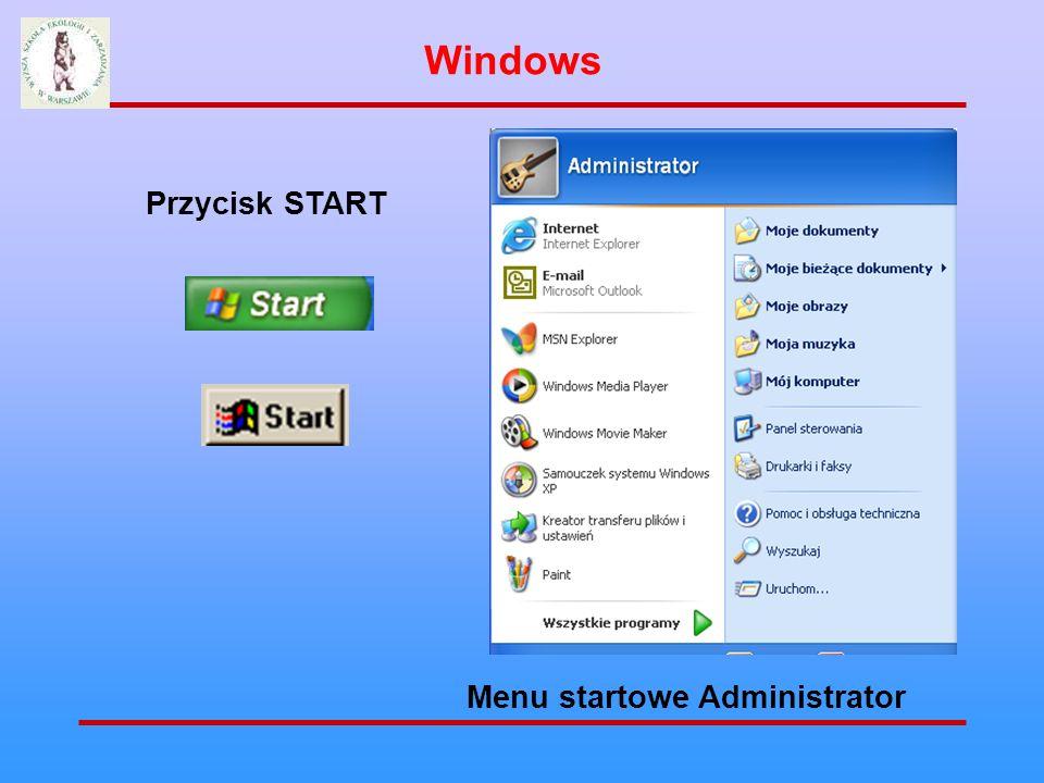 Windows Przycisk START Menu startowe Administrator