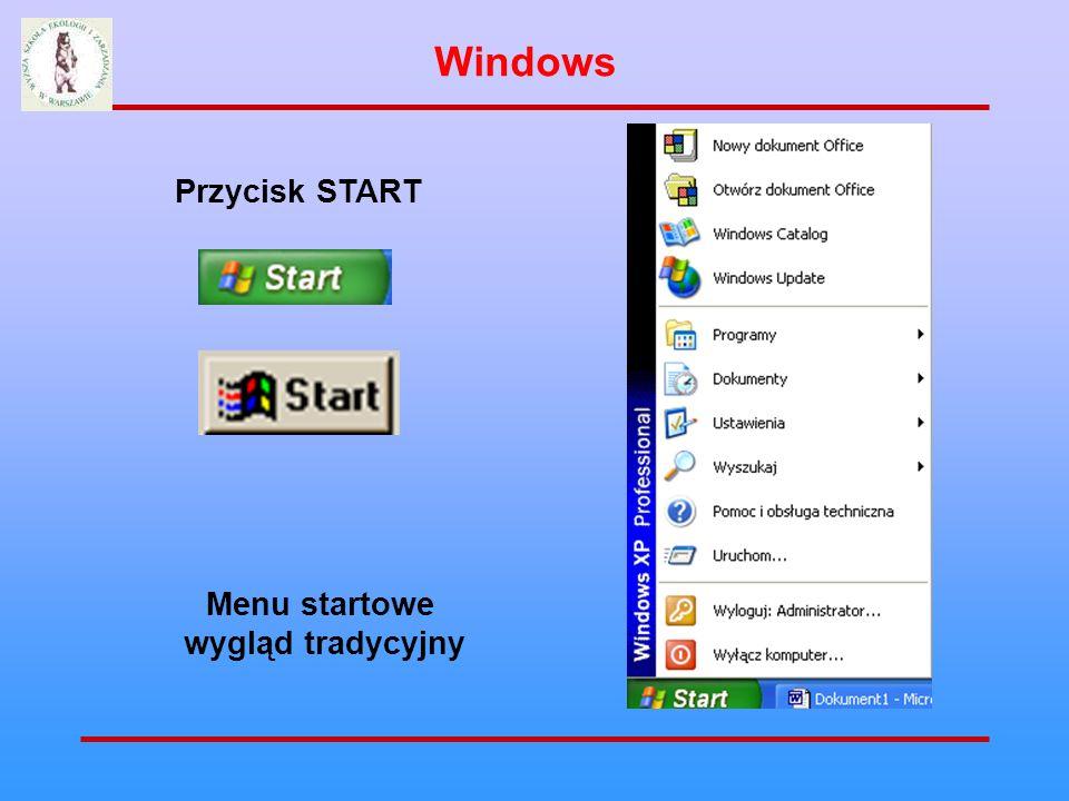 Windows Przycisk START Menu startowe wygląd tradycyjny