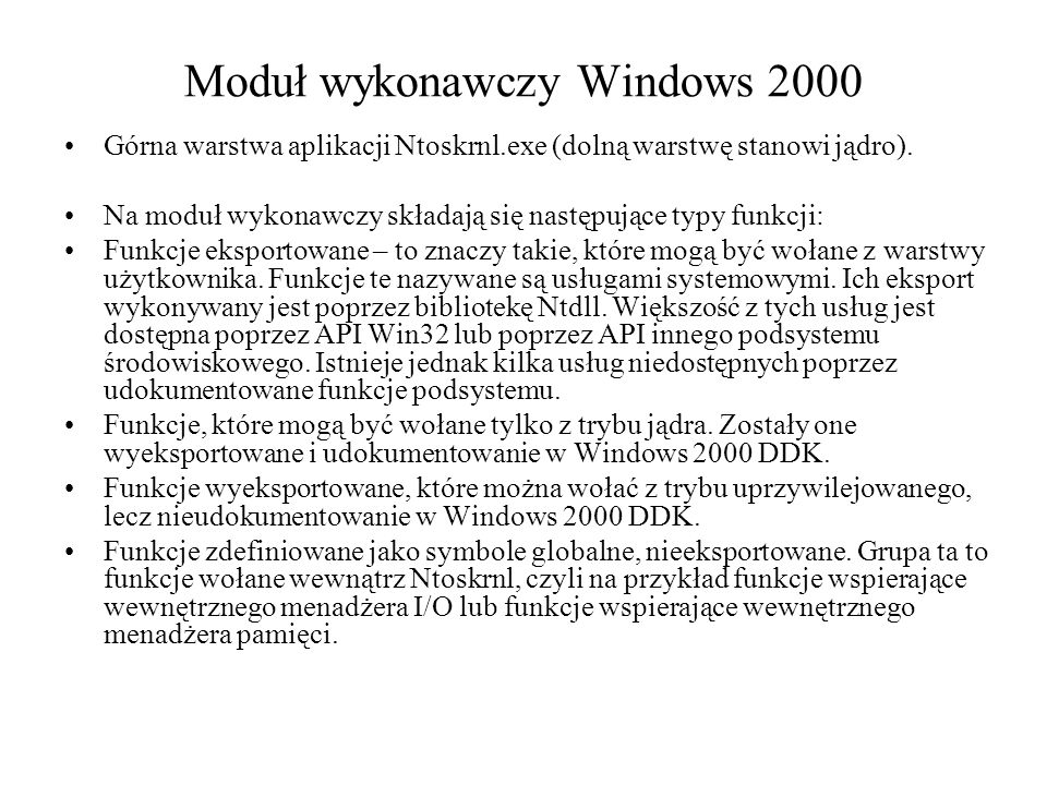 Moduł wykonawczy Windows 2000