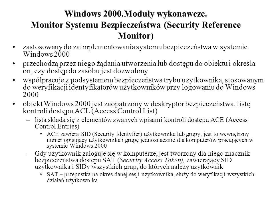 Windows 2000. Moduły wykonawcze