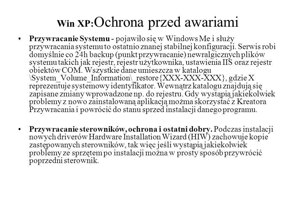 Win XP:Ochrona przed awariami