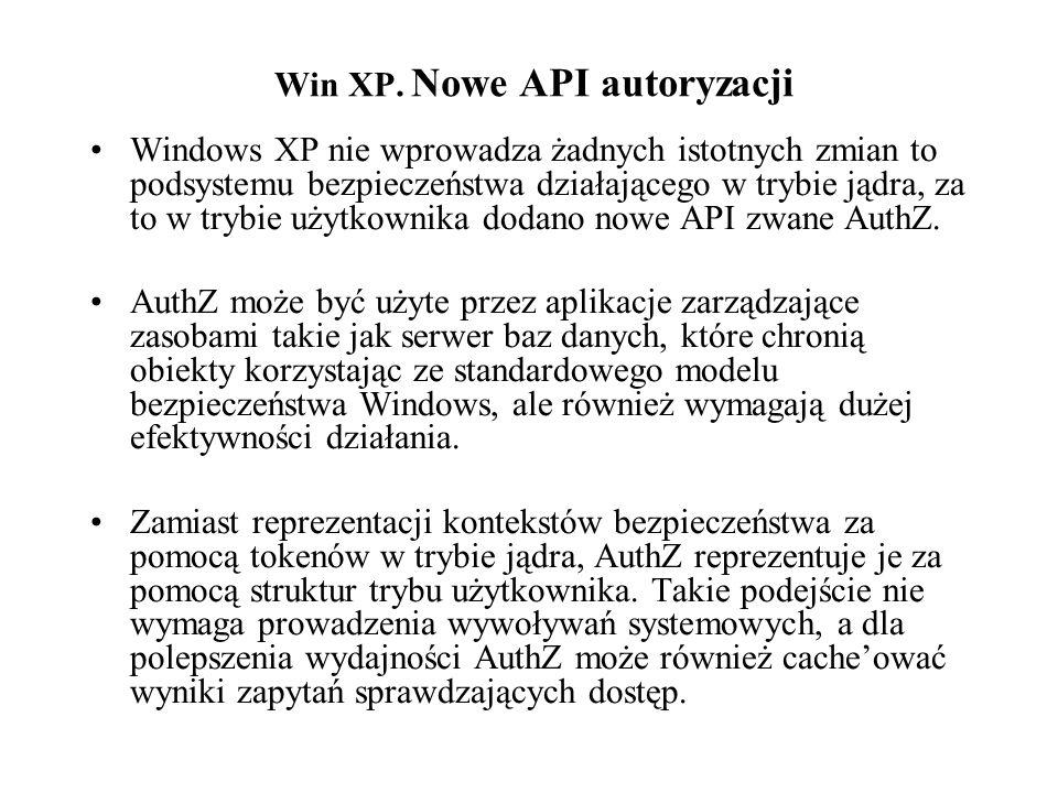 Win XP. Nowe API autoryzacji