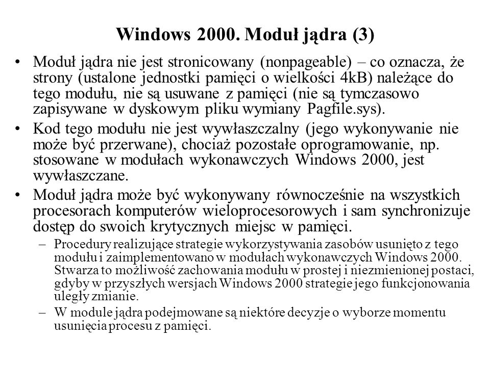 Windows 2000. Moduł jądra (3)