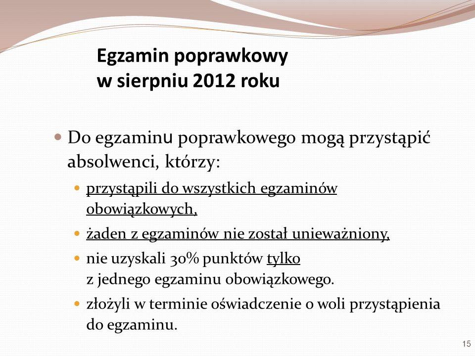 Egzamin poprawkowy w sierpniu 2012 roku