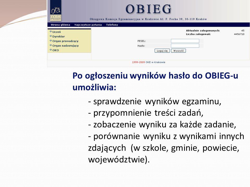 Po ogłoszeniu wyników hasło do OBIEG-u umożliwia: