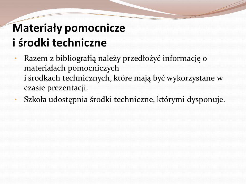 Materiały pomocnicze i środki techniczne