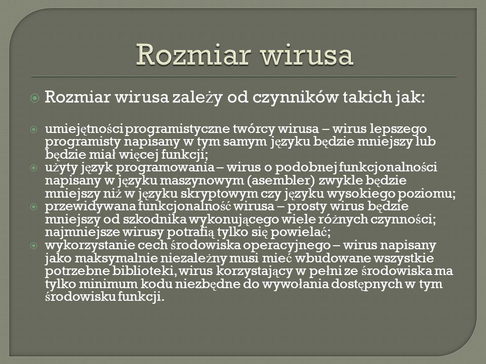 Rozmiar wirusa Rozmiar wirusa zależy od czynników takich jak: