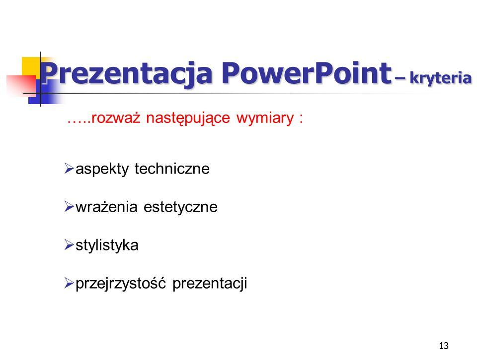 Prezentacja PowerPoint – kryteria