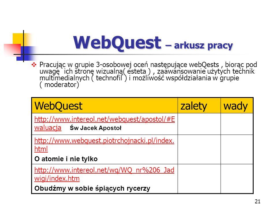 WebQuest – arkusz pracy