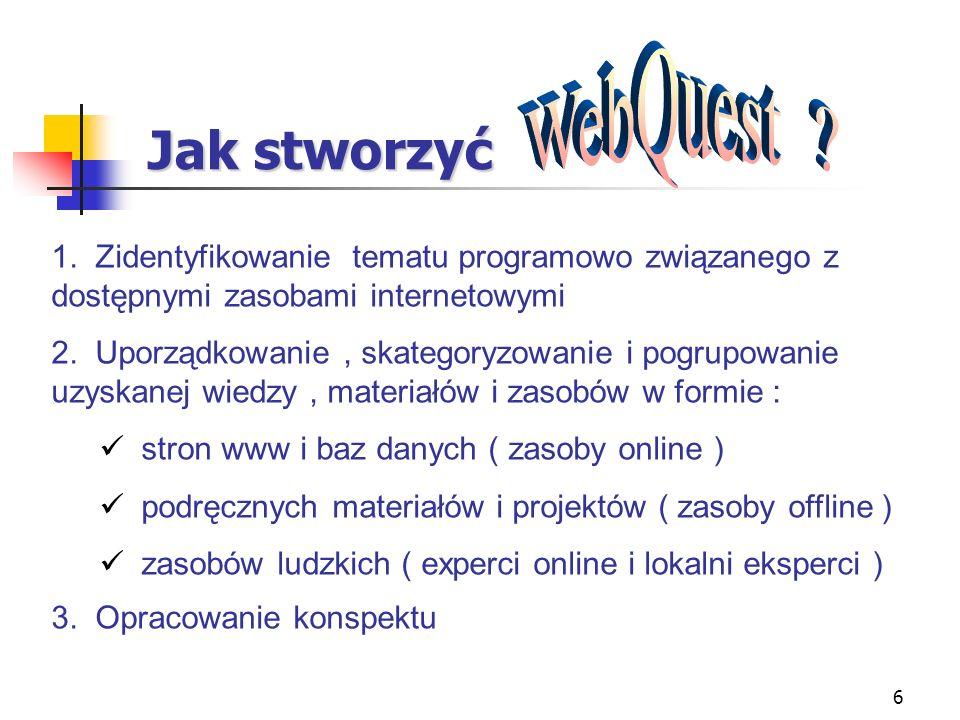 WebQuest Jak stworzyć. 1. Zidentyfikowanie tematu programowo związanego z dostępnymi zasobami internetowymi.