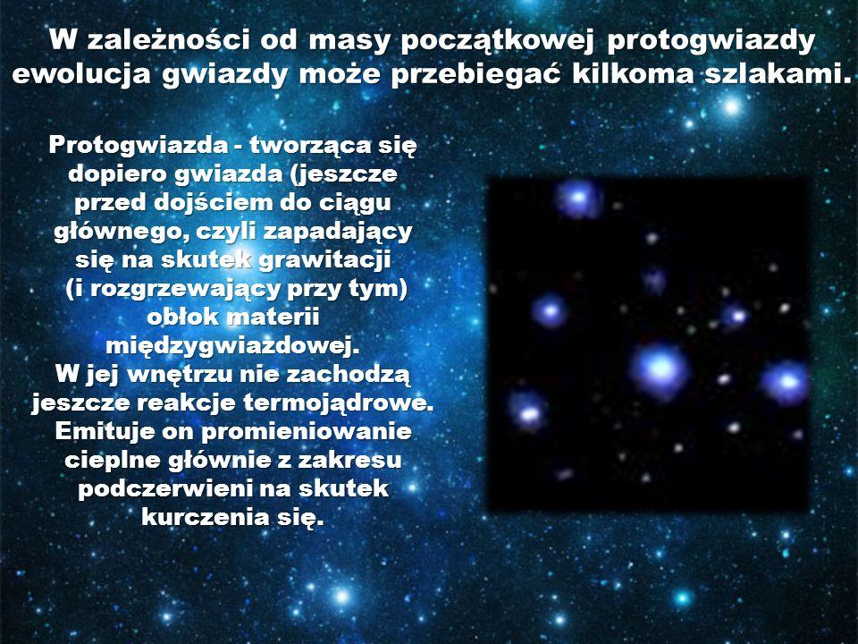 W zależności od masy początkowej protogwiazdy