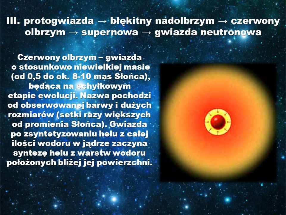 III. protogwiazda → błękitny nadolbrzym → czerwony olbrzym → supernowa → gwiazda neutronowa