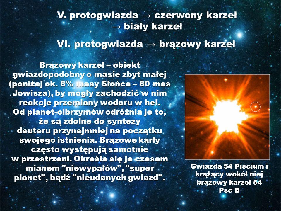 V. protogwiazda → czerwony karzeł → biały karzeł