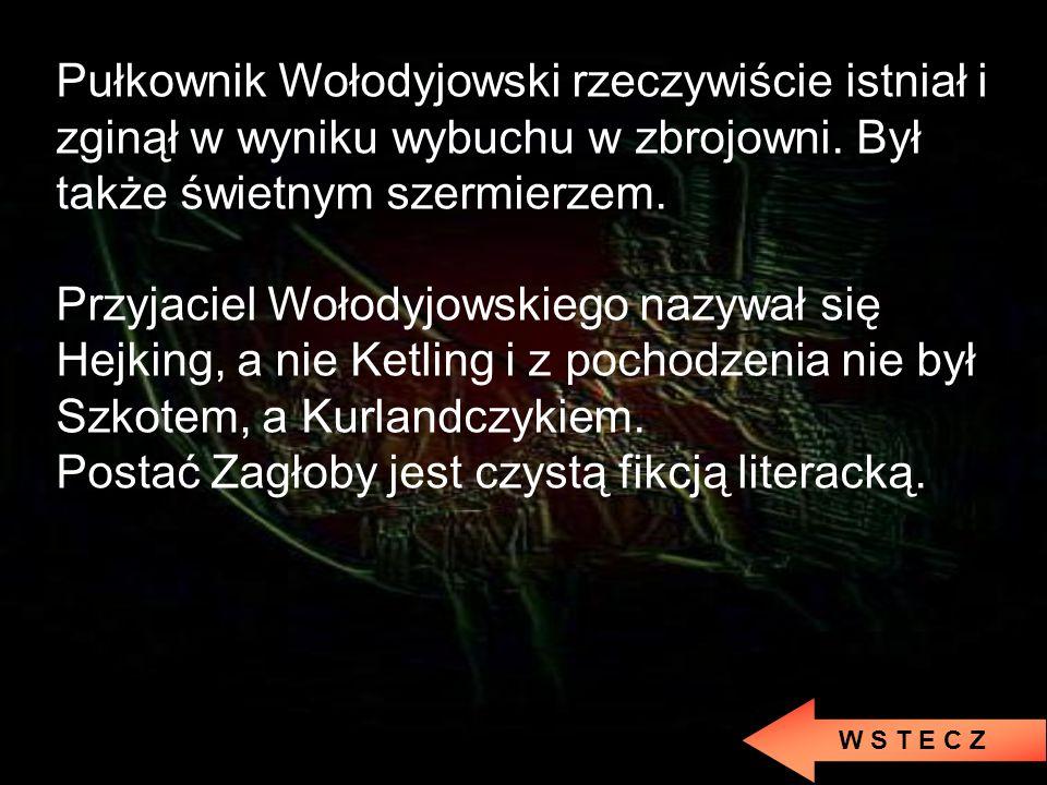 Postać Zagłoby jest czystą fikcją literacką.