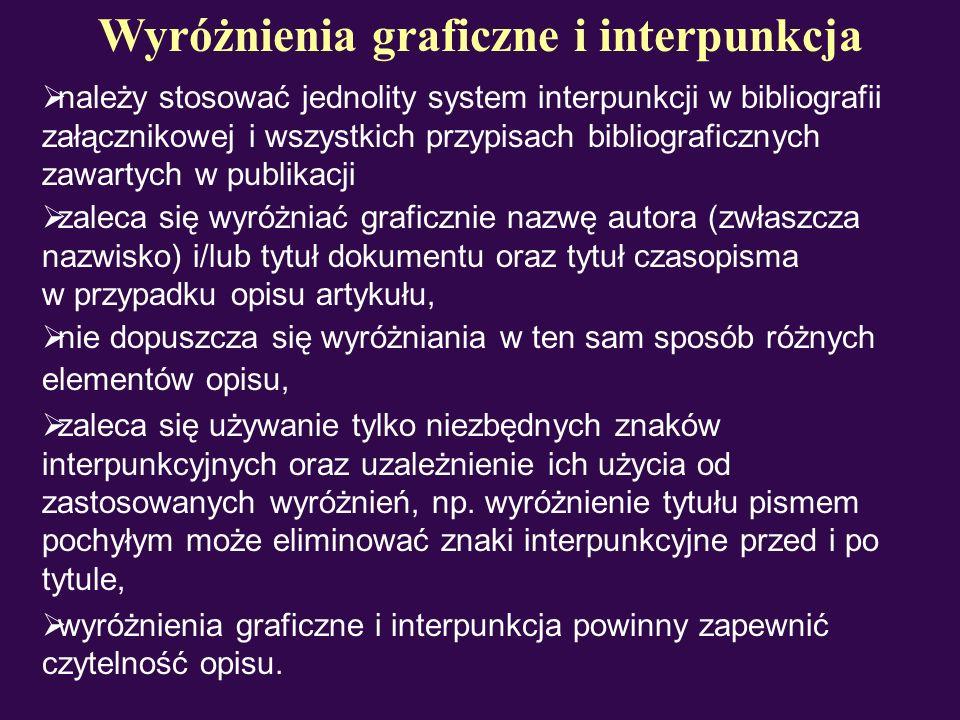 Wyróżnienia graficzne i interpunkcja