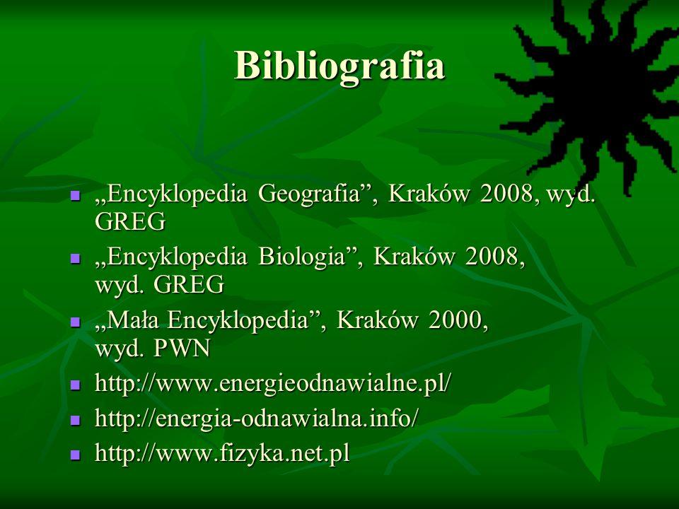 """Bibliografia """"Encyklopedia Geografia , Kraków 2008, wyd. GREG"""