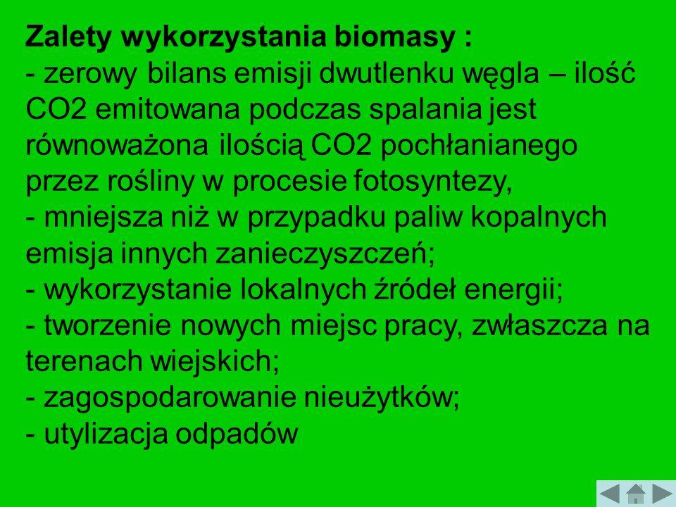 Zalety wykorzystania biomasy :
