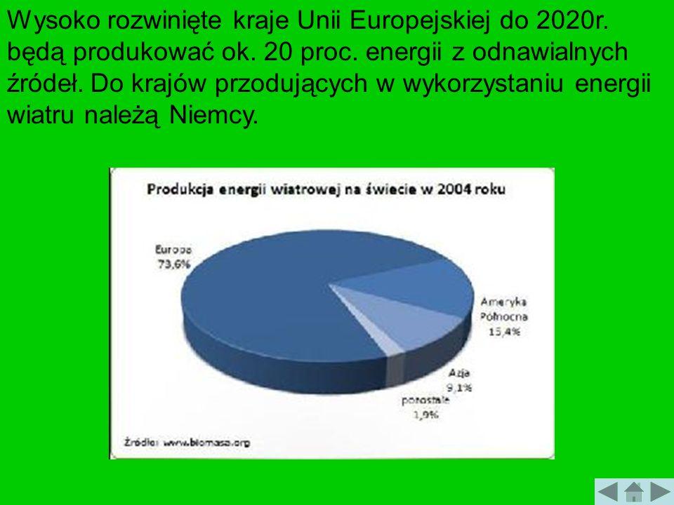 Wysoko rozwinięte kraje Unii Europejskiej do 2020r. będą produkować ok