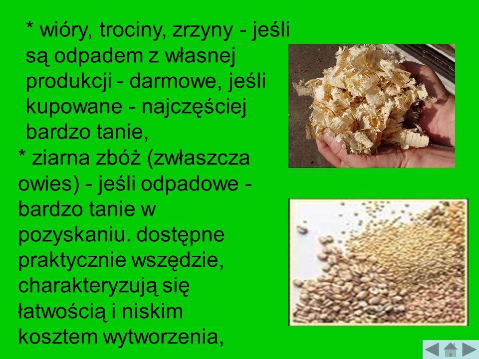 * wióry, trociny, zrzyny - jeśli są odpadem z własnej produkcji - darmowe, jeśli kupowane - najczęściej bardzo tanie,