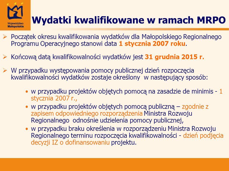 Wydatki kwalifikowane w ramach MRPO