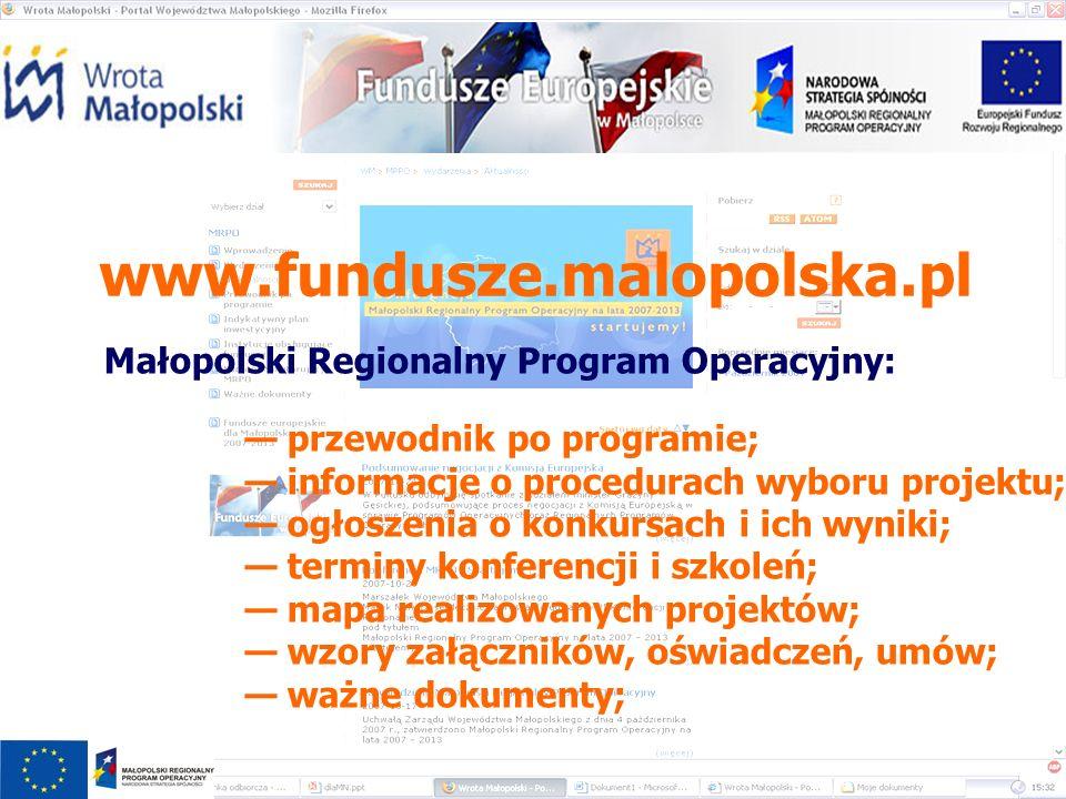 www.fundusze.malopolska.pl Małopolski Regionalny Program Operacyjny: