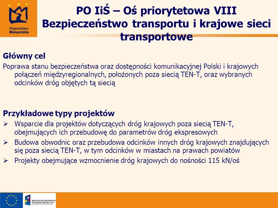 PO IiŚ – Oś priorytetowa VIII Bezpieczeństwo transportu i krajowe sieci transportowe