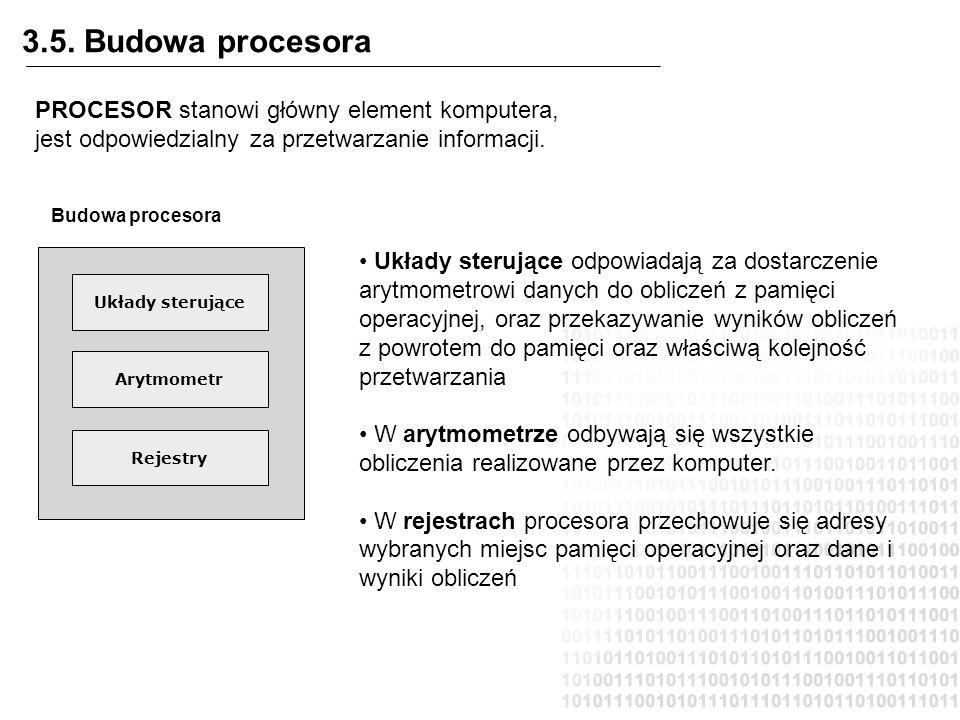3.5. Budowa procesora PROCESOR stanowi główny element komputera, jest odpowiedzialny za przetwarzanie informacji.