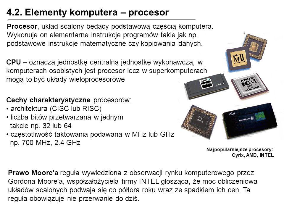 4.2. Elementy komputera – procesor