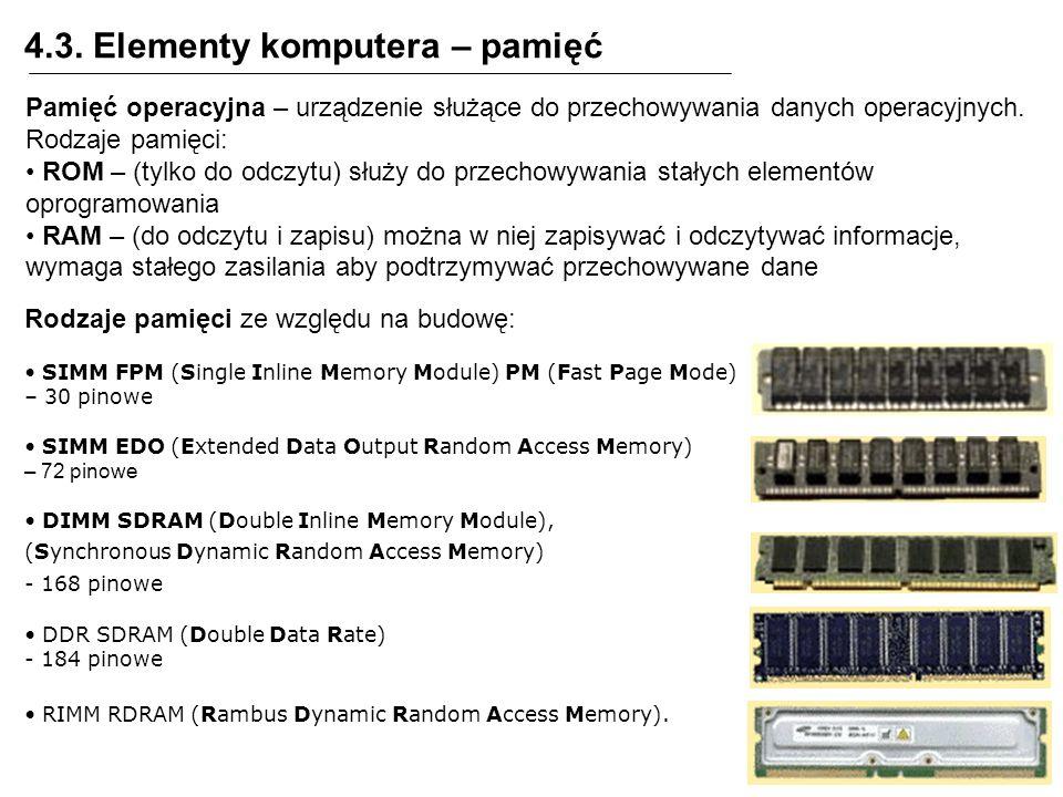 4.3. Elementy komputera – pamięć