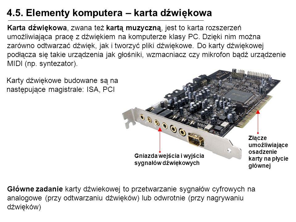 4.5. Elementy komputera – karta dźwiękowa